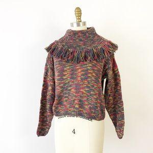 ⭐️NEWARRIVAL Vintage Fringe Collar Cropped Sweater